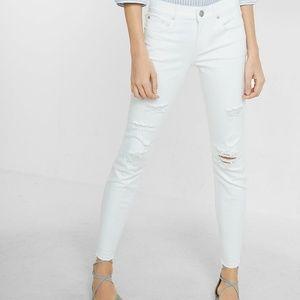 Express White Mid-Rise Cropped Legging